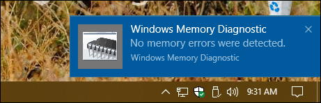 win10 ram memory diagnostics tool - passed