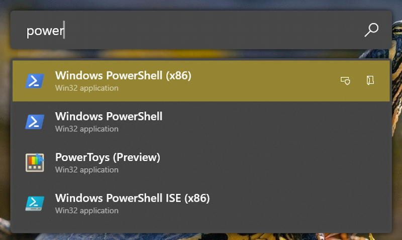 windows win10 - powertoys run launcher - power