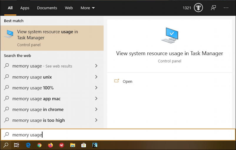 win10 search - memory usage