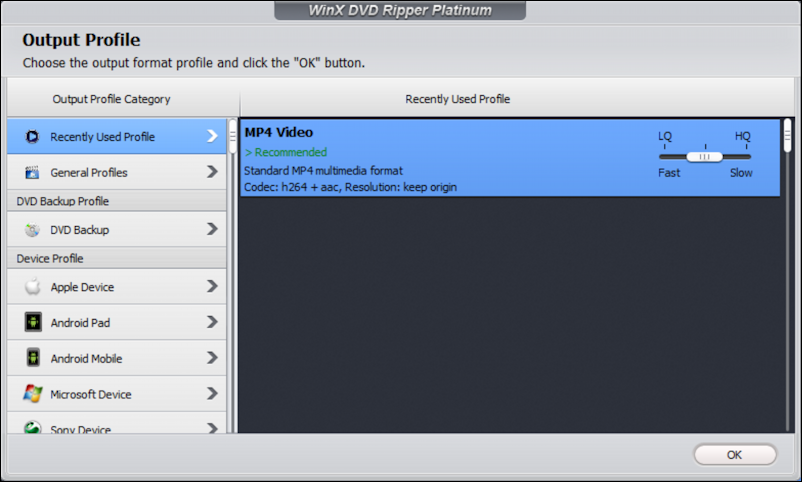 winx dvd ripper platinum - choose output format