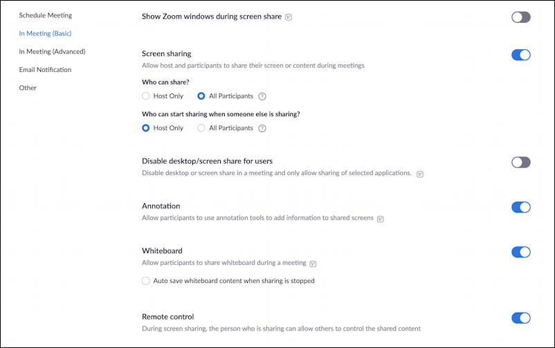 zoom web site - profile - settings - screen sharing