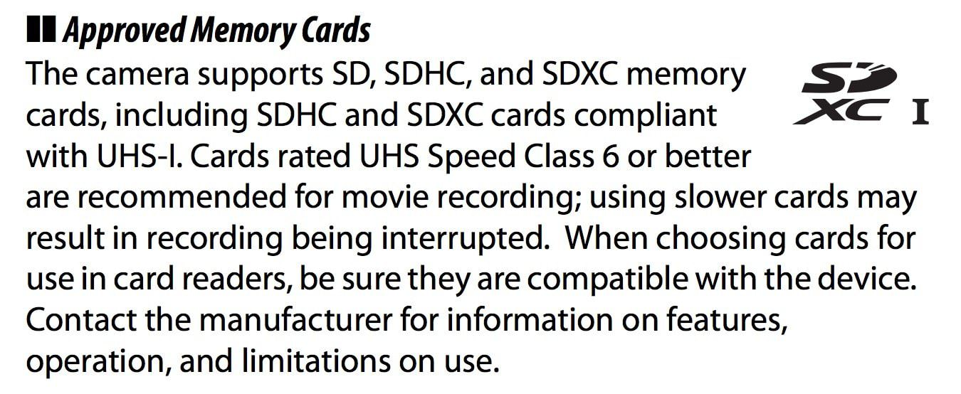 nikon d6500 man page microsd recommended memory card