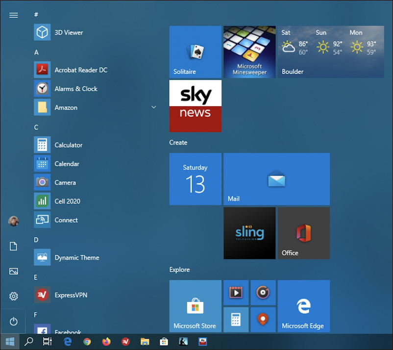 win10 start menu - web page shortcut url sky news icon tile