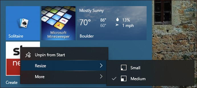 windows 10 start menu - right click on tile