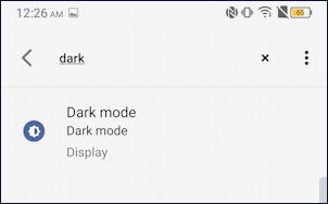 android 10 settings search - dark