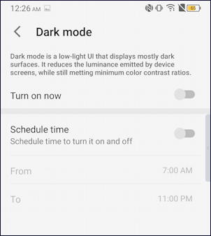 android 10 - tcl - settings > display > dark mode