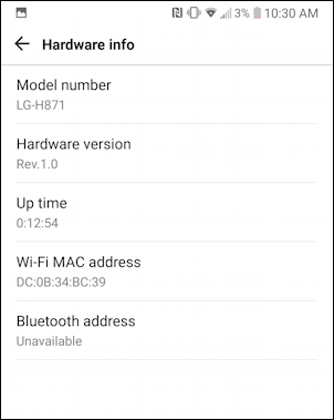 android settings > general > about phone > hardware info