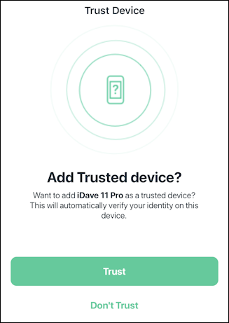arlo mobile app - add trusted device