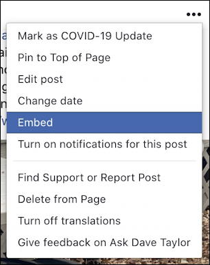 facebook sponsored post - see more options three-dot menu