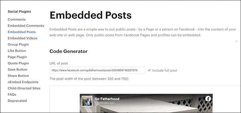 facebook embedded posts info page developers