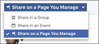facebook post on business fan page - share on page you manage