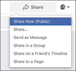 facebook business page share - personal individual share menu