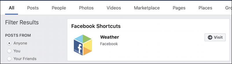 facebook weather shortcut