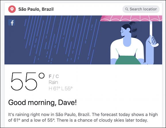 facebook weather forecast - sao paolo brazil