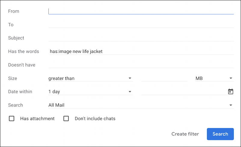 gmail search suggestions - advanced search window 2