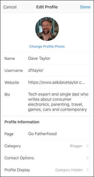instagram edit profile