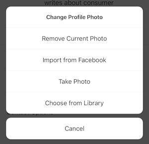 instagram change profile photo options