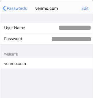 iphone ios 13 settings > passwords & accounts > venmo account credentials