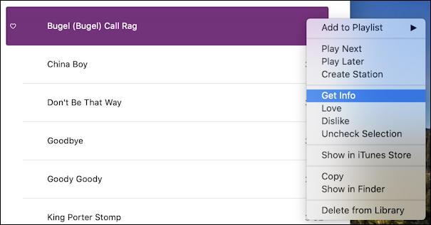 itunes - fix track name - benny goodman - context menu