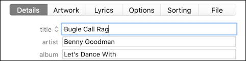 itunes - fix track name - benny goodman - typo fixed track song name