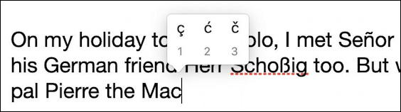 french cedille type in mac macos