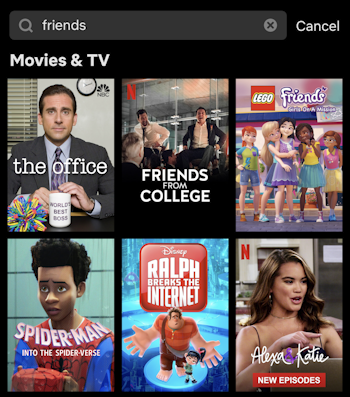 netflix usa search for friends