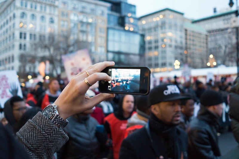 modern protest with smartphones