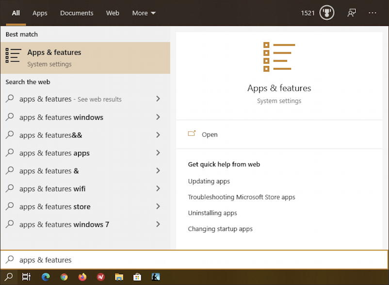 windows 10 search apps & featurs