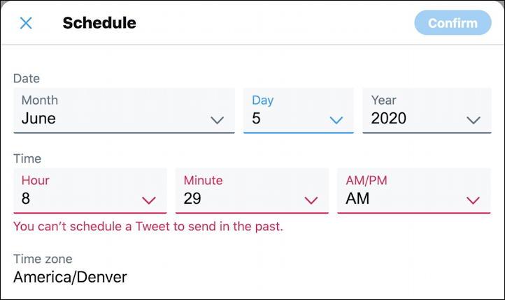 twitter tweet - scheduler - can't schedule in the past