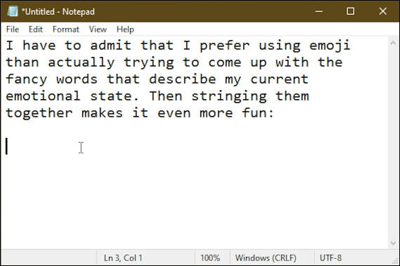 win10 emoji - notepad