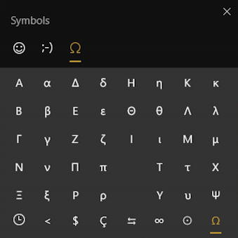 win10 emoji - emoji keyboard - greek symbols