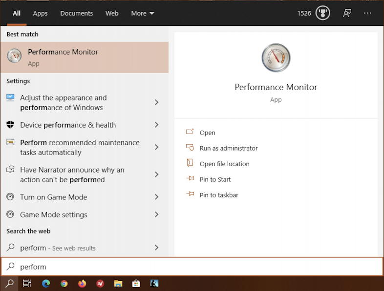 win10 search - performance monitor