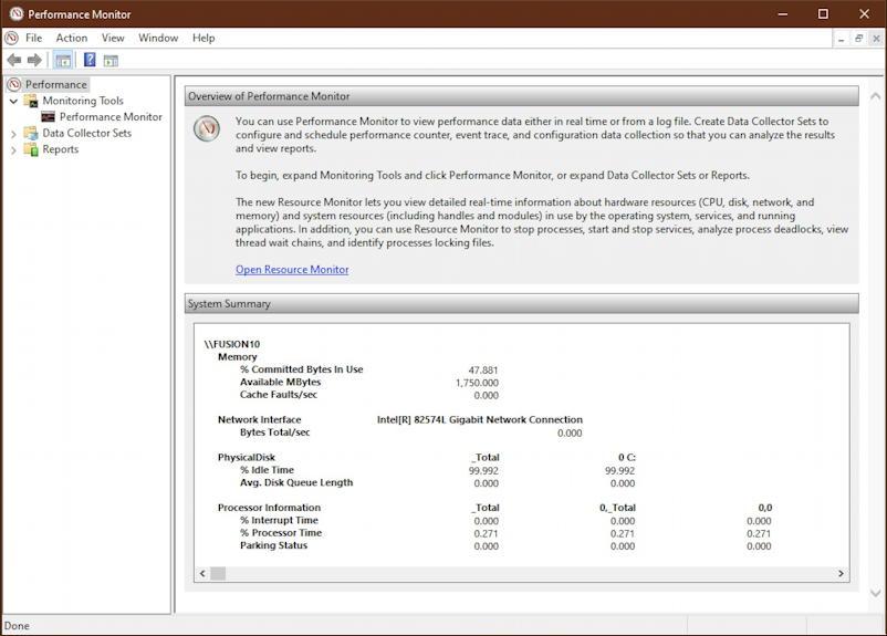 windows 10 performance monitor - main window