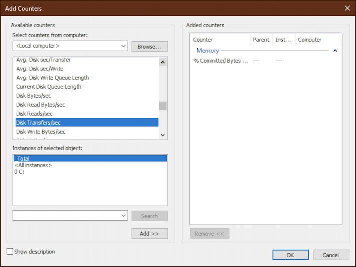 windows 10 performance monitor - disk transfers/sec
