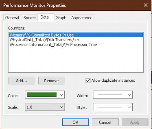 windows 10 performance monitor - field properties