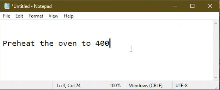 windows text in notepad