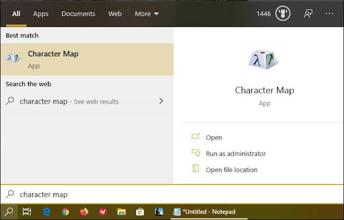 windows 10 - character set map search