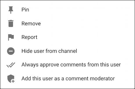 youtube creator studio - comments delete menu