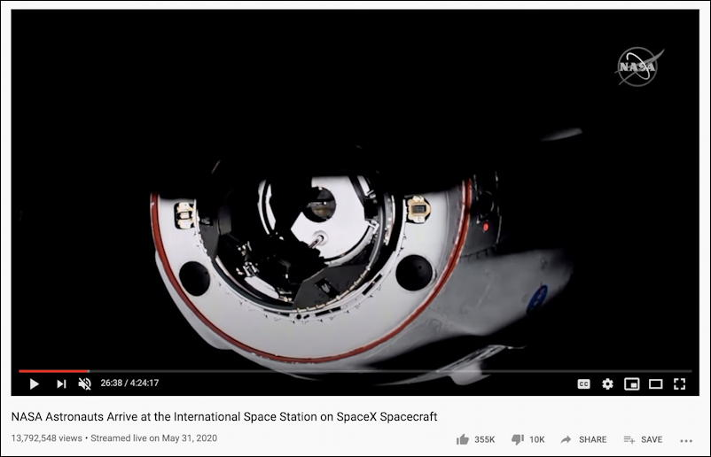 crew dragon spacex docks iss space station nasa youtube