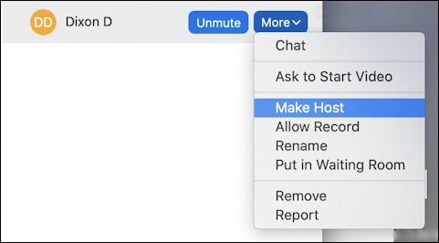 zoom meeting - host - individual person more menu