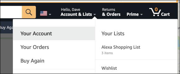 amazon 'your account' link