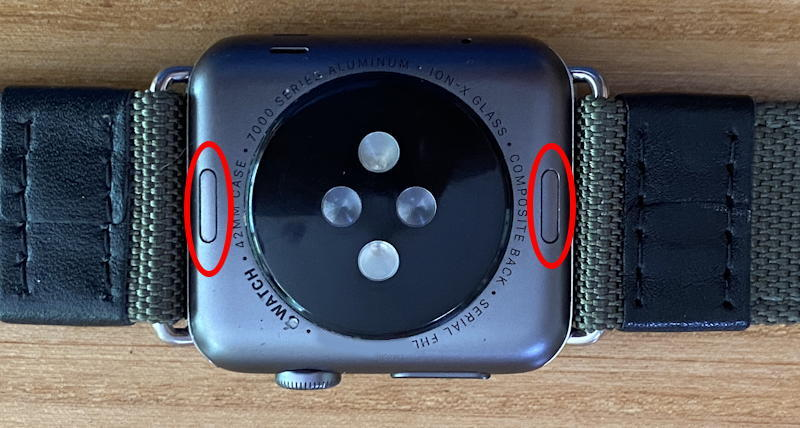obverse back - apple watch - band release buttons highlighted