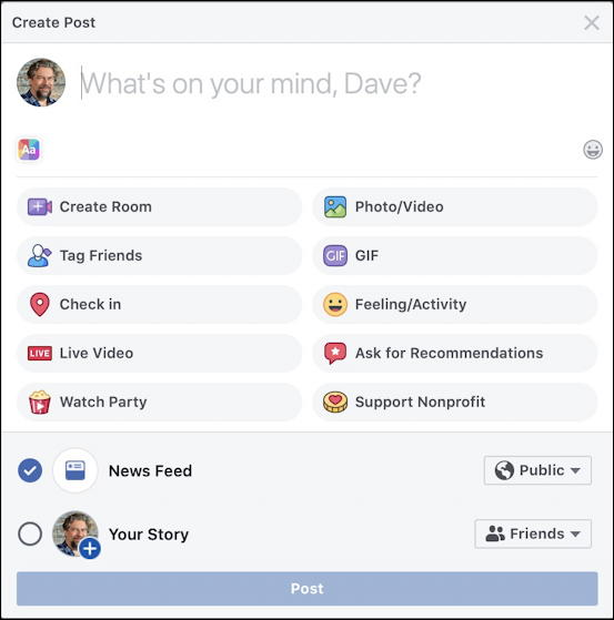 facebook post options - desktop