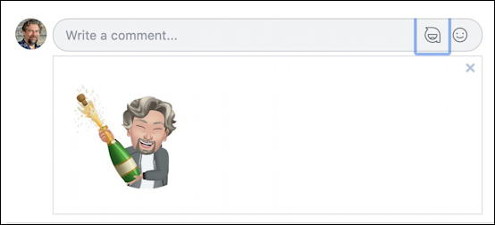 facebook adding avatar sticker to comment