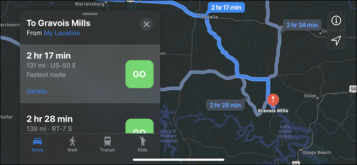apple maps - route options