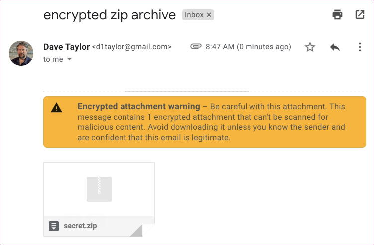 gmail encrypted zip archive not scanned warning