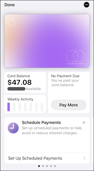 apple card app info balance, usage, etc