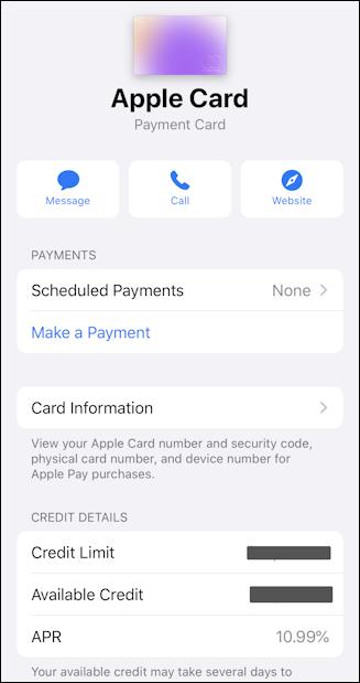 apple card app - settings