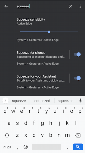 pixel android 10 - settings - search for 'squeeze'