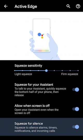 pixel android 10 - settings - squeeze to silence settings active edge sensitivity
